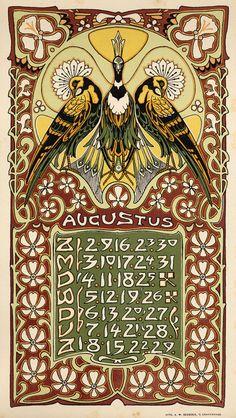 ¤ Leo Visser 1903 Kalender augustus. Calendar 1903 august. Peacocks and flowers