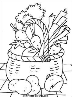 Printable vegetables coloring page. Free PDF download at