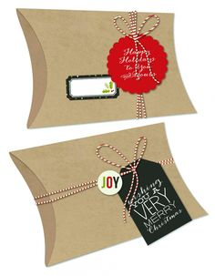 Simple Stories DIY Christmas - kraft pillow boxes to embellish!