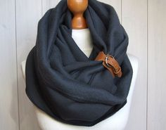 The leather bucklet.  CHUNKY Infinity Scarf with leather cuff, winter fashion infinity scarf