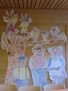 Ekornfamilien og bamsefamilien. Ekorn Jensen, Ekornmamma, Tom, Lise & Per Brumlemann, Bamsefar & Bjørnemamma