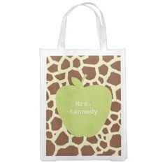 Green Apple Giraffe Teacher Market Totes from The Pink Schoolhouse