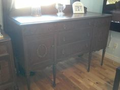 Solid Wood Antique Hutch Sideboard