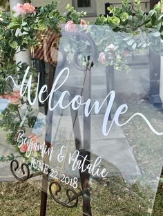 Excited to share the latest addition to my #etsy shop: Clear Glass Look Acrylic Wedding Welcome Sign, 18x24 Personalized Modern Wedding Welcome Sign  #weddings #weddingwelcomesign #weddingsign #welcomesign