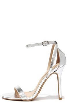Glam Squad Silver Ankle Strap Heels at Lulus.com!