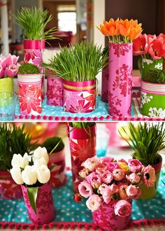 Make simple, easy centerpiece vases out of cylinders, glasses or ball jars covered with fun wrapping paper. We chose different floral and prints and then banded the tops with simple colored satin and grosgrain ribbon. Chose mismatched bright patterns for the ultimate spring look. We filled some containers with fresh moss, wheat grass and flowers. For flowers try using Ranunculus, daffodils and tulips for your mismatched vases