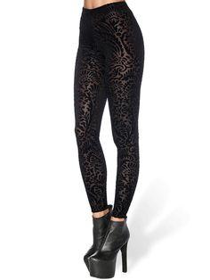 Burned Velvet Damask Leggings - LIMITED (WW $80AUD / US $64USD) by Black Milk Clothing