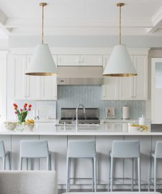 simple + chic with herringbone backsplash + white cabinets | Kelly Deck Design