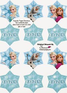 Frozen: Lindos Wrappers y Toppers para Cupcakes para Imprimir Gratis.