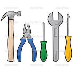 Cartoon illustration of a set of different household tools Construction Theme Classroom, Construction Birthday, Vbs Crafts, Paper Crafts, Kids Sunday School Lessons, Toddler Class, Fathers Day Crafts, Applique Patterns, Card Patterns