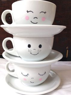 Happy Little Teacups with Saucers: Set of 6 by MiaInWonderland Happy Li. - Happy Little Teacups with Saucers: Set of 6 by MiaInWonderland Happy Little Teacups with S - Cute Coffee Mugs, Cool Mugs, Tea Mugs, Coffee Cups, Pottery Painting Designs, Painted Mugs, Mug Designs, Tea Set, Tea Party