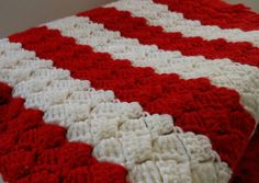 Candy Cane Striped Holiday Handmade Crochet Afghan Blanket