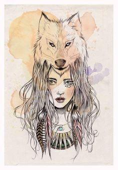 woman wearing a wolf art designs - Google Search
