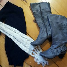 Navy sweater gray boots and cream scarf READ DESCRIPTION. The sweater has some sparkles in it size xs, gray heeled boots size 6.5  The price is for all items pictured. If you are interested in a particular item from the bunch, or would like more details and pictures, PLEASE REFER to its individual listing posted in my closet :) Other