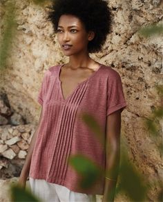Poetry - Pintuck jersey top - A lovely alternative to a T-shirt, this pure linen top has pretty pintucked details that run from the v-neckline to the hem. With tiny turned-back sleeves and a slightly swingy hemline. 100% linen