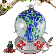 Grateful Gnome – Hummingbird Feeder – Hand Blown Glass – Blue and Green Speckled Globe with Window – 24 Fluid Ounces