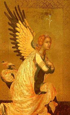 """""""Angel of the Annunciation"""", 1339 (Panel Painting, Antwerp) ~ by Simone Martini ( c. 1284–1344; Italian painter born in Siena)"""