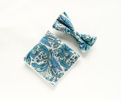 Men's floral blue paisley bow tie floral Pocket Square Pre-tied bowtie gift for men groomsmen wedding blue bowtie by TheStyleHubTrends on Etsy