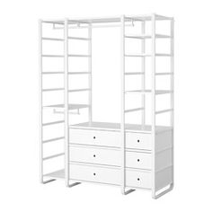 IKEA - ELVARLI, 3 sections, You can always adapt or complete this open storage solution as needed. Maybe the combination we've suggested is perfect for you, or you can easily create your own.Adjustable shelves and clothes rails make it easy for you to customize the space according to your needs.You can combine open and closed storage - shelves for your favorite things and drawers for the things you want to store away.Drawers with integrated dampers close slowly, silently and softly.You can…