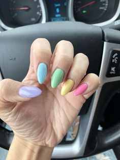 Nails gelish From to reality! So obsessed with this pastel look for . From to reality! So obsessed with this pastel look for spring! Summer Acrylic Nails, Cute Acrylic Nails, Pastel Nails, Spring Nails, Summer Nails, Cute Nails, Manicure, Aycrlic Nails, Colorful Nails