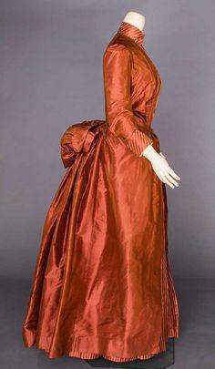 COPPER SILK BUSTLE DRESS, 1880s