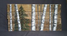 Reclaimed pallet art, Distressed, Evergreen   tree, pallet art, Hand painted White Birch, upcycled rustic & shabby chic