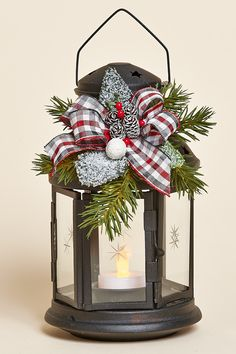 "8""H Black Lantern with Removable Holiday Decor Featuring Frosted Greens, a Red, Grey and White Plaid Bow and Battery Tea Light"