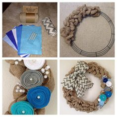 The first pin I have personally uploaded to Pinterest. My DIY Burlap Wreath with Chevron and Felt Flowers!