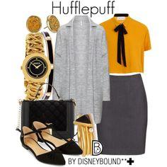 Disney Bound - Hufflepuff Character Inspired Outfits, Disney Inspired Outfits, Disney Bound Outfits, Themed Outfits, Disney Style, Harry Potter Style, Harry Potter Outfits, Harry Potter World, Fandom Fashion