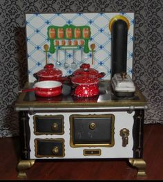 Schopper Doll House Tin Metal Stove (West Germany) Includes Miniature Red Pots and Pans #dollhouse #dolls #ebay #shop #toys #kitchen #funkythrift