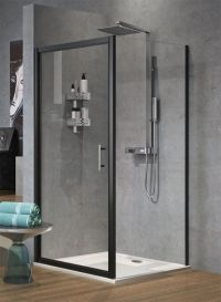Novellini Zephyros G Hinged Shower Door 900 Black Finish Zephyrg86