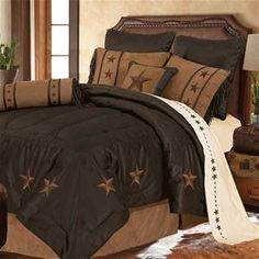 Delectably Yours Laredo Brown Faux Leather Western Comforter Bed Set by HiEnd Accents #DelectablyYours Western Bed and Bath Decor