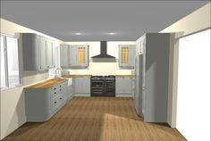 A beautiful shaker style kitchen designed by Howdens in Basingstoke.  This is our Tewkesbury Sky range.  Contact your local depot or your builder for more details.