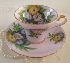 Pink Aynsley Corset China Tea Cup & Saucer by TheEclecticAvenue