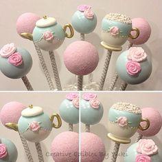 CAKE POPS ~Creative Edibles by Yuki~ Cute tea party themed cake pops! Girls Tea Party, Tea Party Theme, Tea Party Birthday, 5th Birthday, Baby Shower Food For Girl, Tea Party Bridal Shower, Girl Shower, Tea Party Desserts, Party Cakes