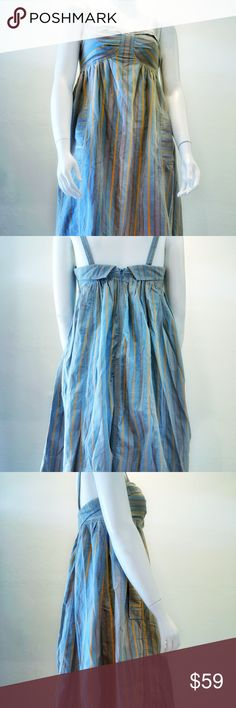 """Marc Jacobs Gray Summer Holter Dress Sz 10 Gray stripy cotton spaghetti strap sleeveless knee-length dress with 2 pockets, square neck, contrast trim and concealed zip closure at back.  Bust: 17"""" Straps: 8.5  Length: 38""""  Condition: Very good. Faint wear to fabric throughout. No marks, pulls or spots.  Fabric: 100% Cotton  100% Authentic. Authenticity guaranteed.  Comes from smoke free home. Marc Jacobs Dresses Mini"""