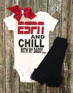 ESPN and Chill with my Daddy Onesie, Daddy Onesies, Sports Onesies, Fathers Day Shirt, ONESIE ONLY  ****ONESIE ONLY**********  LEGGING CAN BE PURCHASED IN THE SELECTION BAR  Be sure to wash inside out. Hang dry or dry inside out on low heat. That is to protect the glitter from being damaged. We use high quality materials to make sure that you get a lasting Shirt!  Custom orders accepted, just send request or email!  SHIPPING All clothing orders are a two to three week production time…