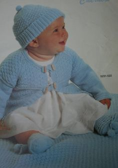 Baby Knitting Patterns Crochet Patterns Vintage by elanknits (Craft Supplies & Tools, Patterns & Tutorials, Fiber Arts, Knitting, knitting patterns, crochet patterns, sweater patterns, cardigan pattern, blanket patterns, dress pattern, hat pattern, booties patterns, Bernat 522, baby, jumper patterns, baby patterns, knitting pattern)