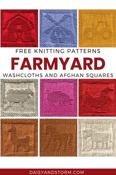 Easy Baby Knitting Patterns, Knitted Dishcloth Patterns Free, Animal Knitting Patterns, Knitted Washcloths, Knit Dishcloth, Baby Hats Knitting, Crochet Patterns, Afghan Patterns, Knitting Ideas