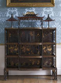 Chinoiserie porcelain cabinet by John Linnell, in the Wardrobe at Kedleston. ©NTPL/Dennis Gilbert