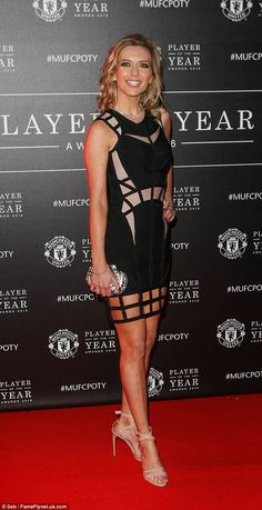 Red carpet beauty: Rachel Rileysizzled in a skintight caged dress at the Manchester United Player Of The Year Awards on Monday night