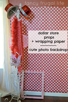 Dollar store wrapping paper, coat hanger, and dress up props for a DIY photo booth! Budget Friendly Olivia the Pig Birthday Party - Kara's Party Ideas - The Place for All Things Party Valentinstag Party, Valentines Day Party, Xmas Party, Valentines Photo Booth, Diy Birthday Party Photo Booth, Chrismas Party Ideas, Company Christmas Party Ideas, Christmas Party Ideas For Adults, Valentine Backdrop