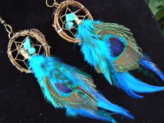 turquoise peacock feather dreamcatcher earrings turquoise peacock in native american inspired  tribal boho belly dancer and hipster style on Etsy, $28.50