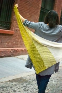 Duane Park 2 gorgeous yellow and grey shawl - I can never get enough of Through the Loops