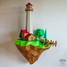 •••DIY PAPERCRAFT 3D MODEL••• Have fun and also decorate your home. Spend time with beloved family or friends and make your own paper craft Lighthouse sculpture.   DIMENSIONS 📐 ● Height: 69.8 cm / 27.5 in ● Width: 47.6 cm / 18.7 in ● Depth: 27.5 cm / 10.8 in  Recommended tipy of paper: A4 (US Letter)/A3 (US Tabloid) colored or white cardstock paper 160-300 gsm / 60-110 lb (when print use scale 100%)  #lowpoly #walldecor  #3Dpaper #pepakura #lighthouse #pdfpattern #template #floatingisland 3d Paper, Paper Quilling, Paper Crafts, Origami Lights, Art Addiction, Origami Easy, Paper Models, Diy Wall Decor, Flower Crafts