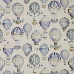 Hot Air Balloons fabric - Cowtan Tout Manuel Canovas Paris - L'Envol Ciel fabric vintage hot air balloons (available by the yard) nursery Air Ballon, Hot Air Balloon, Cole And Son, Buy Fabric, Pierre Frey, Fabric Wallpaper, Designer Wallpaper, Chinoiserie, Decoration