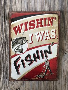 Vintage style tin metal sign // gift for him // fathers Day man cave // shabby chic rustic fisherman fishing wall art // nostalgic mens gift by RinTinSignCO on Etsy https://www.etsy.com/listing/386502960/vintage-style-tin-metal-sign-gift-for