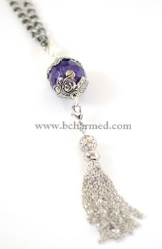 "bcharmed's gorgeous ""Amethyst Tibetan Silver Carrier"" with ""Ball and Jewel Tassel"".  www.bcharmed.com"