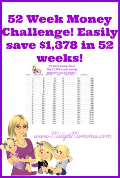 52 week money Saving Challenge! Save $1,378 in 52 weeks!