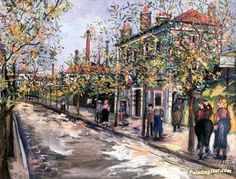 Avenue des Ternes, Porte de Champerret Artwork by Maurice Utrillo Hand-painted and Art Prints on canvas for sale,you can custom the size and frame